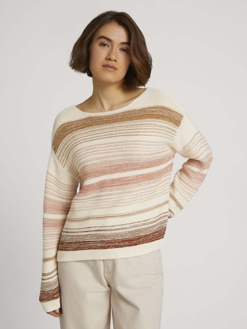 Črtast teksturiran pulover z dolgimi rokavi