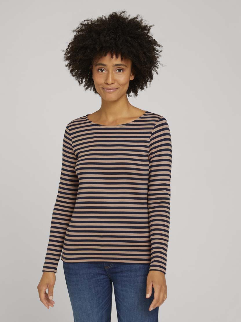 Črtasta majica z dolgimi rokavi - Vzorec/večbarvna