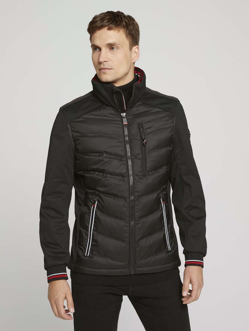 Hibridna prošivena jakna s visokim ovratnikom - Crna