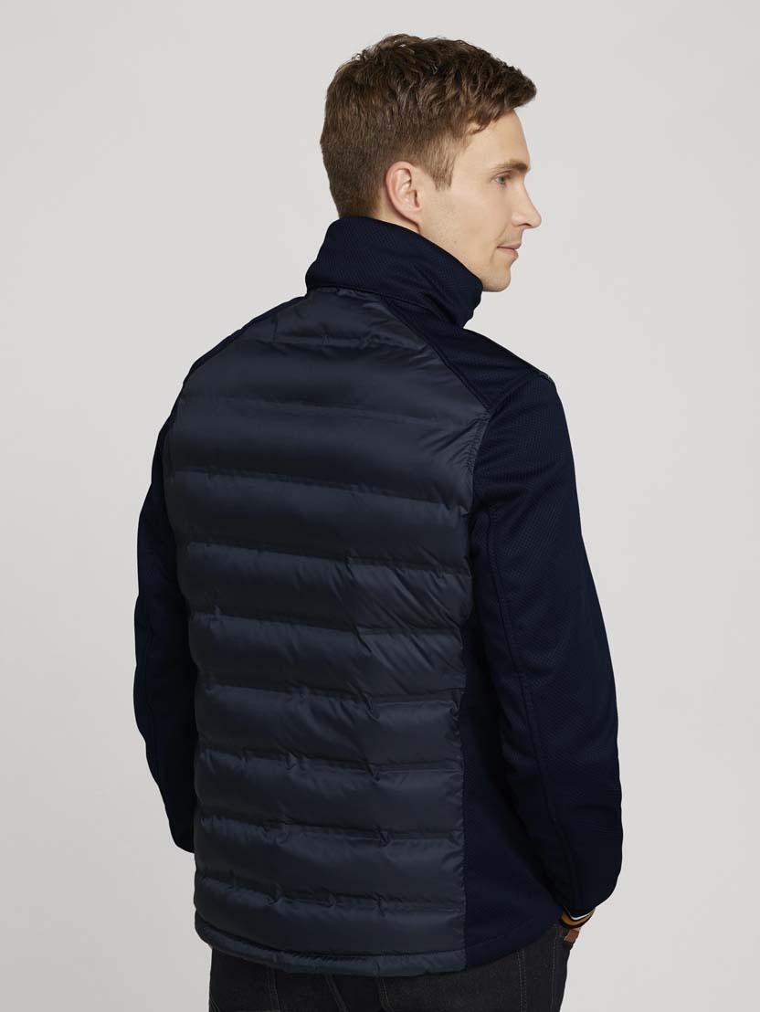 Hibridna prošivena jakna s visokim ovratnikom - Plava_1229019