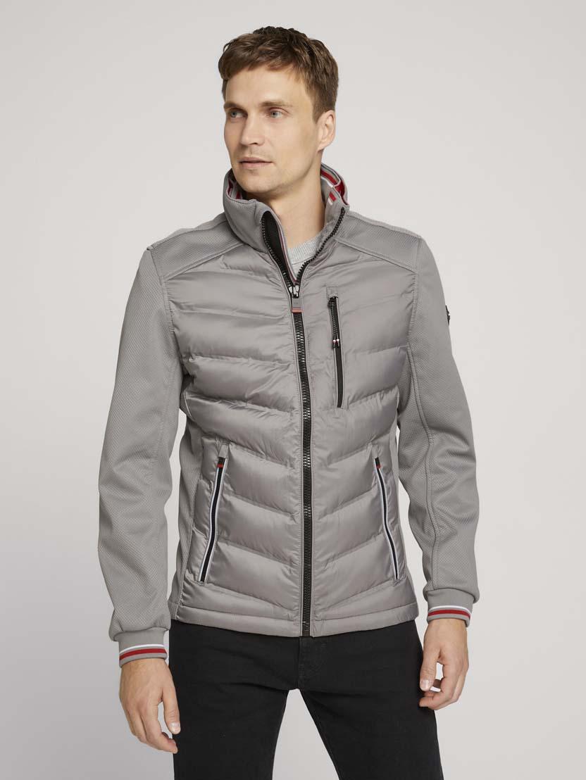 Hibridna prošivena jakna s visokim ovratnikom - Siva
