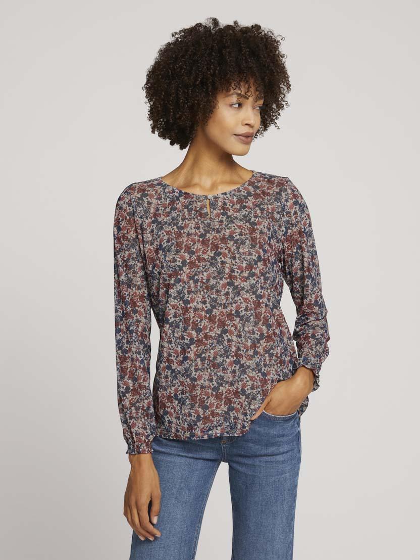 Majica iz mrežaste tkanine z vzorcem in dolgimi rokavi