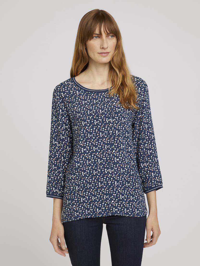 Majica s 3/4 rokavi z vzorcem v mešanici materialov - Vzorec/večbarvna_3952224