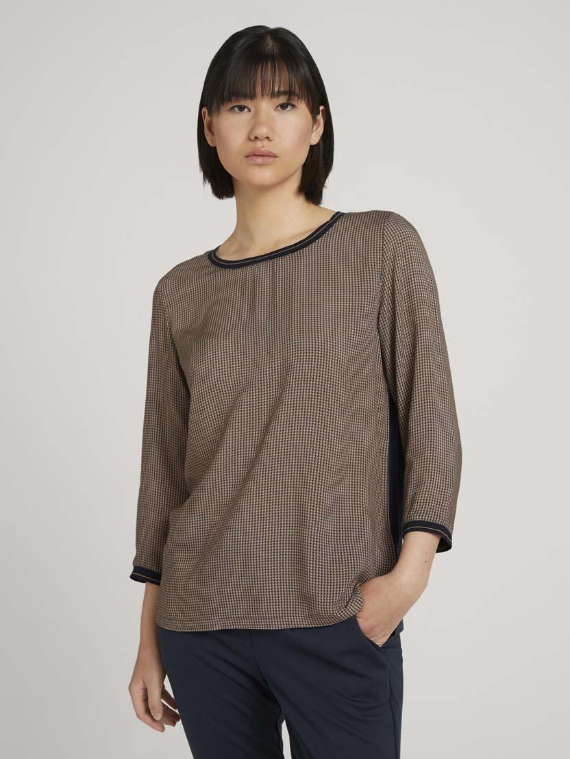 Majica s 3/4 rokavi z vzorcem v mešanici materialov - Vzorec/večbarvna