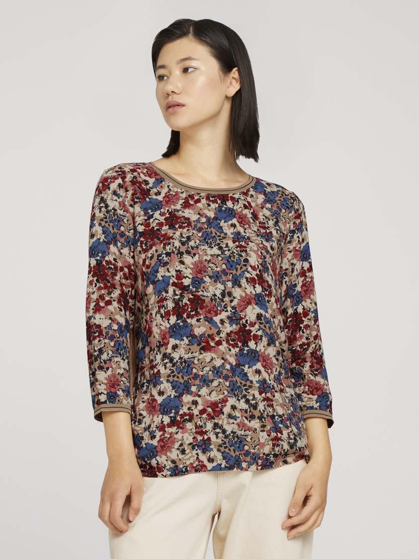 Majica s cvetličnim potiskom, 3/4 rokavi in okroglim izrezom - Vzorec/večbarvna