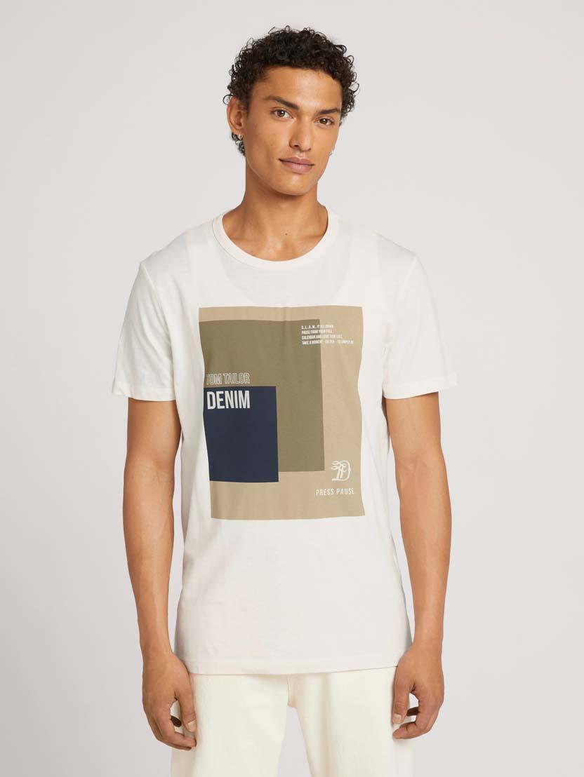 Majica s kratkimi rokavi in potiskom fotografije - Bež