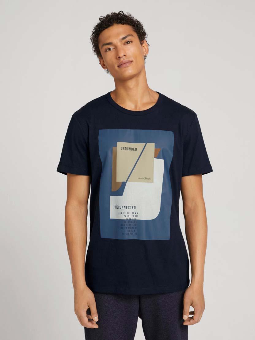 Majica s kratkimi rokavi in potiskom fotografije - Modra_3127497