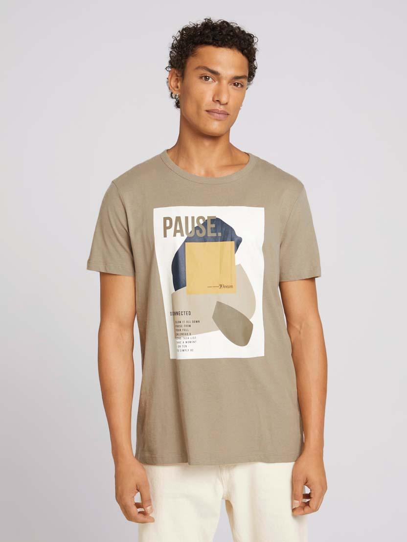 Majica s kratkimi rokavi in potiskom fotografije - Zelena