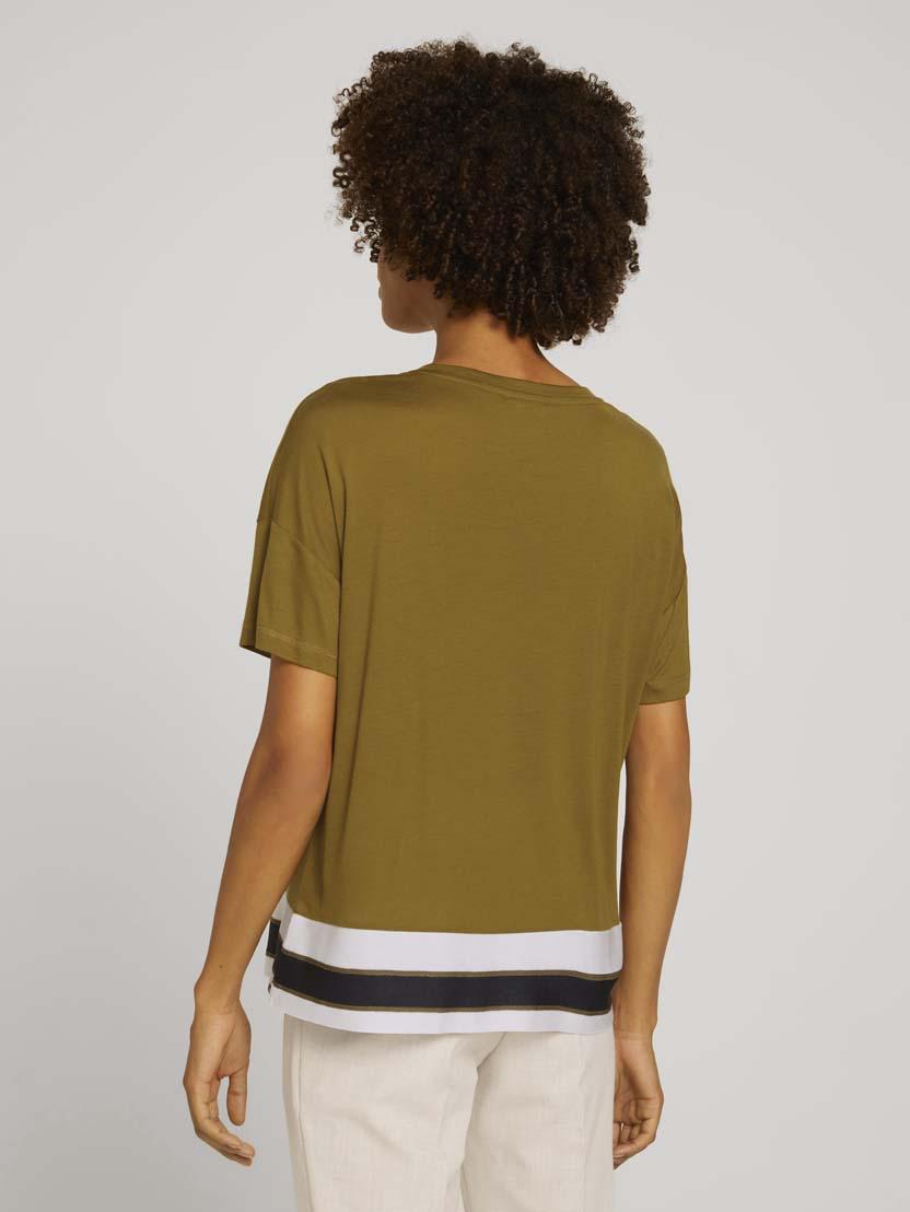 Majica s kratkimi rokavi s črtami - Rjava_5868743