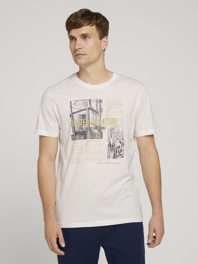 Majica s kratkimi rokavi s potiskom fotografije - Bela