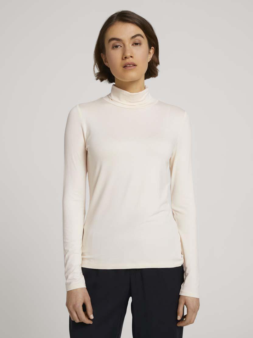 Majica s puli ovratnikom z dolgimi rokavi iz viskozne mešanice - Bež