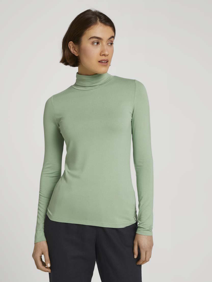 Majica s puli ovratnikom z dolgimi rokavi iz viskozne mešanice - Zelena_767223