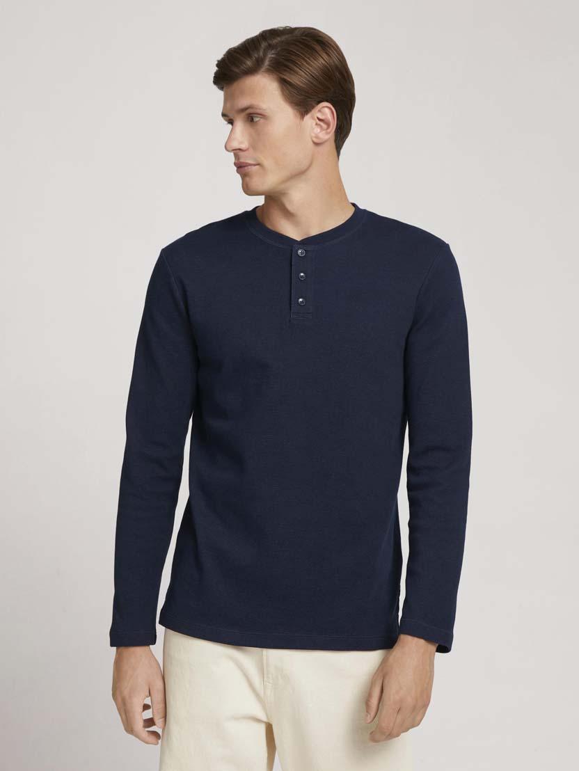 Majica z dolgimi rokavi in Henley izrezom - Modra