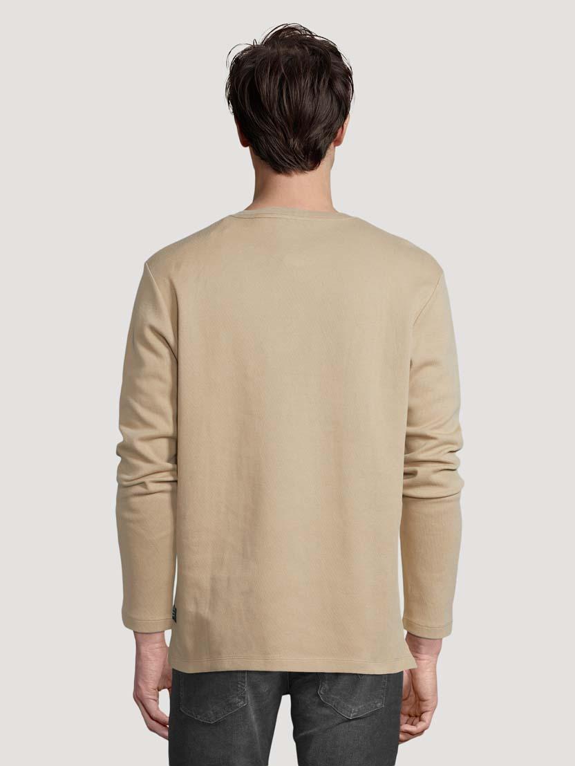 Majica z dolgimi rokavi in Henley izrezom - Zelena_1448035