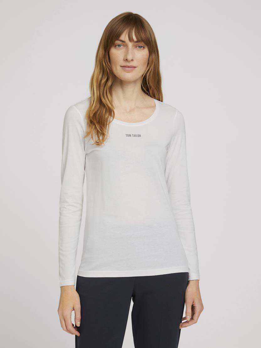 Majica z dolgimi rokavi in potiskom logotipa na prsih - Bela