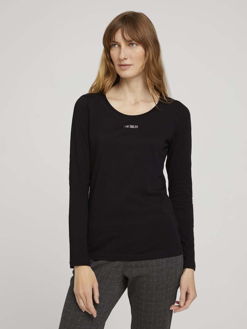 Majica z dolgimi rokavi in potiskom logotipa na prsih - Črna