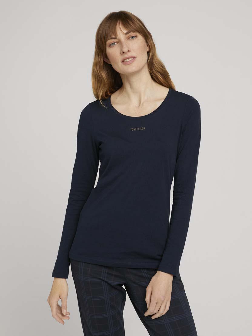 Majica z dolgimi rokavi in potiskom logotipa na prsih - Modra