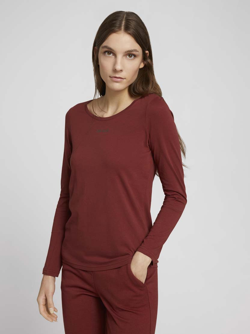 Majica z dolgimi rokavi in potiskom logotipa na prsih - Rdeča