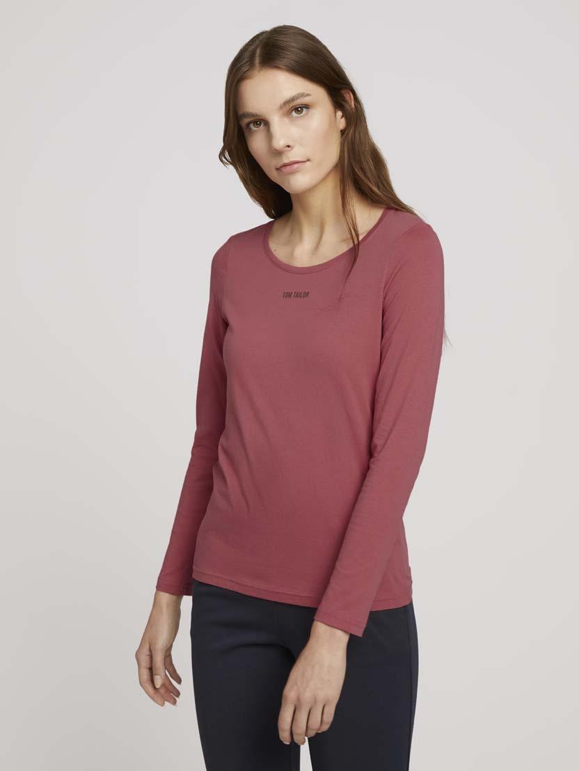 Majica z dolgimi rokavi in potiskom logotipa na prsih - Roza_6194993