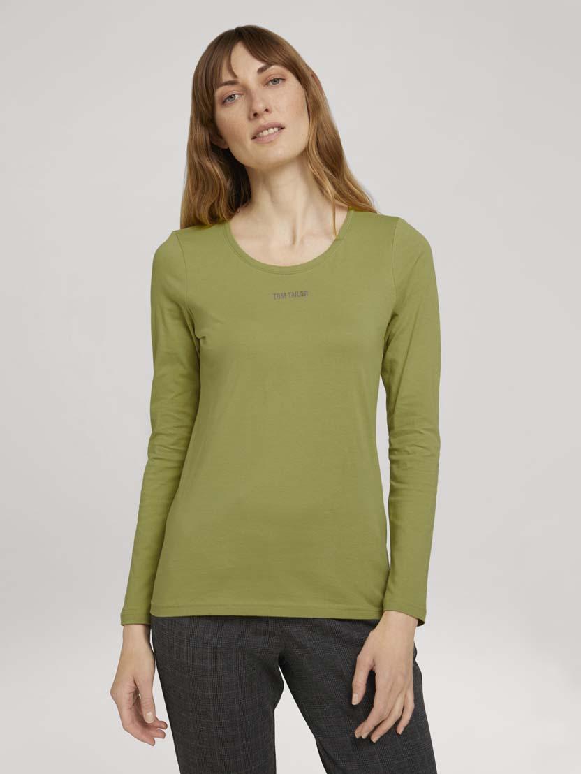 Majica z dolgimi rokavi in potiskom logotipa na prsih - Zelena