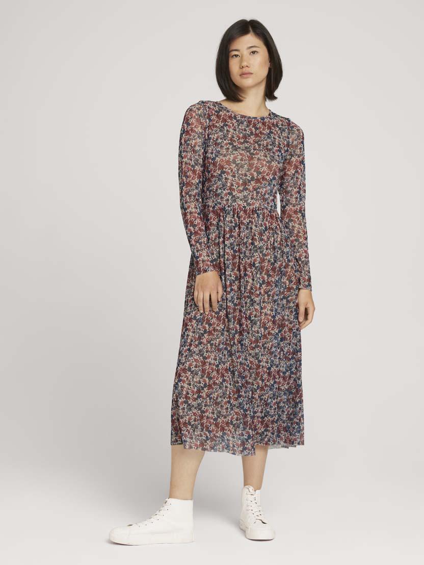 Mrežasta srednje dolga obleka z vzorcem in dolgimi rokavi - Vzorec/večbarvna_9509351