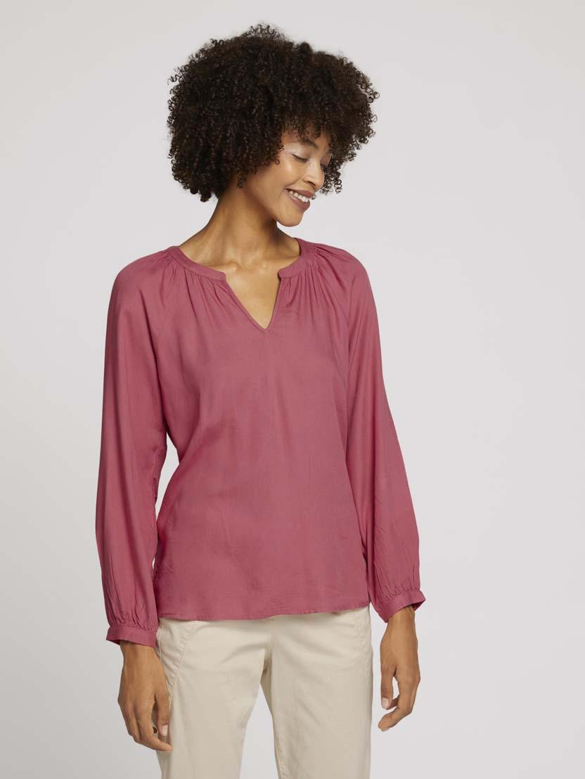 Nabrana bluza z dolgimi rokavi iz viskoznega materiala