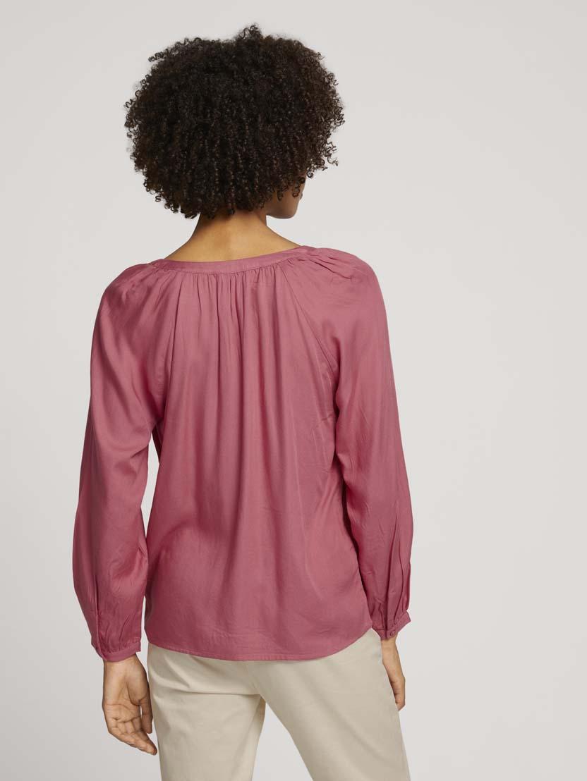 Nabrana bluza z dolgimi rokavi iz viskoznega materiala - Roza_5973181