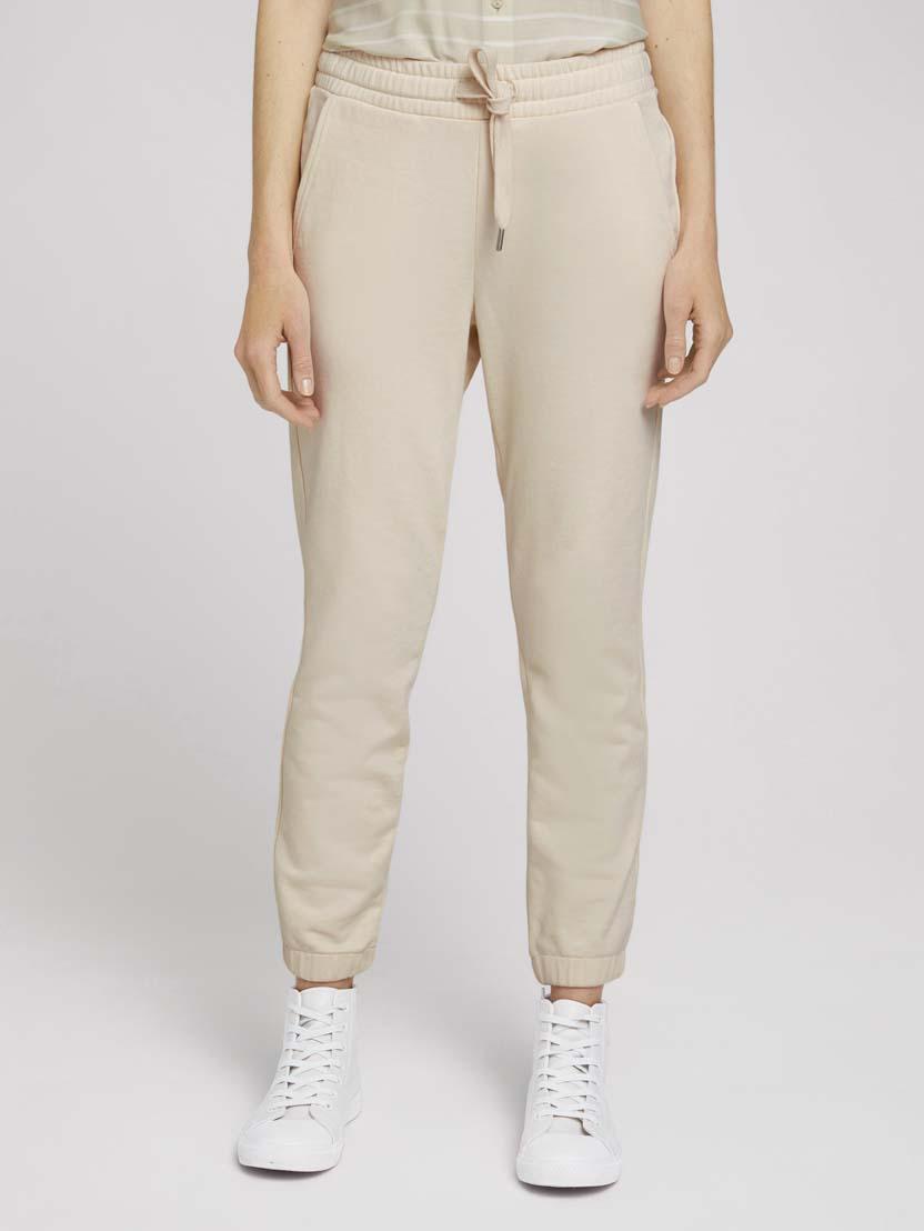 Ohlapne klasične hlače z elastičnim pasom - Bež_6291935