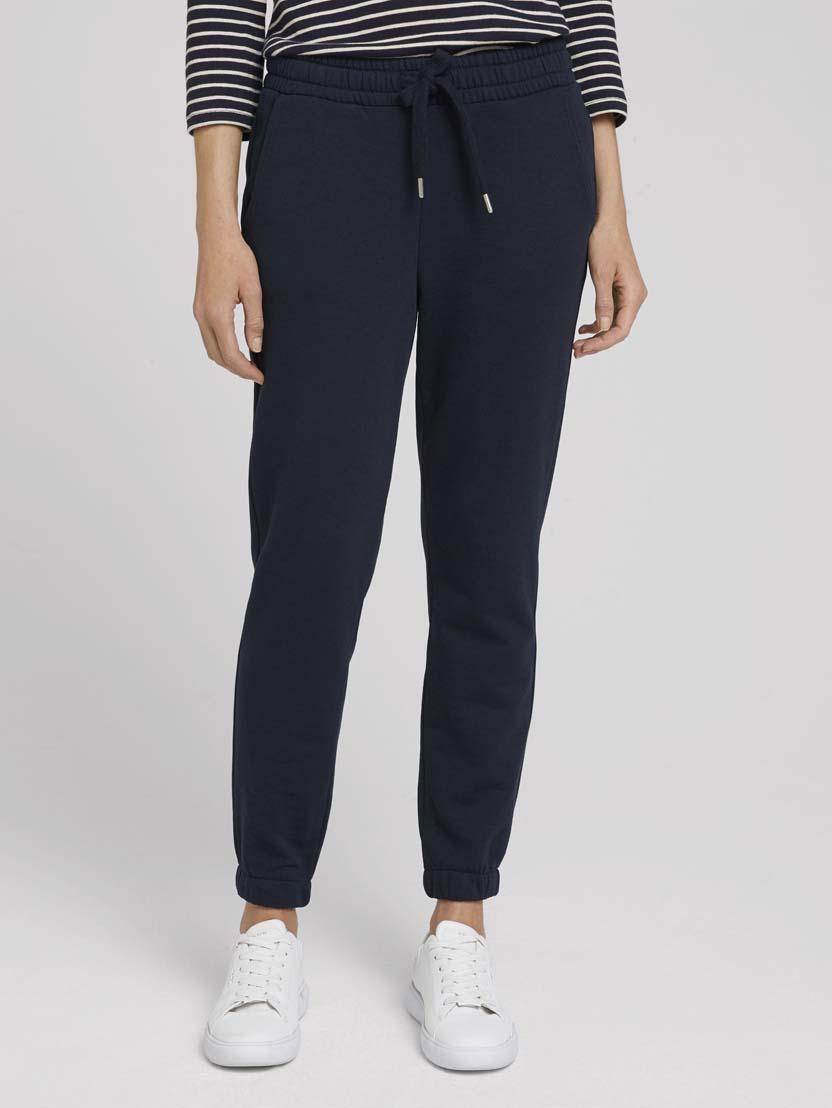 Ohlapne klasične hlače z elastičnim pasom - Modra