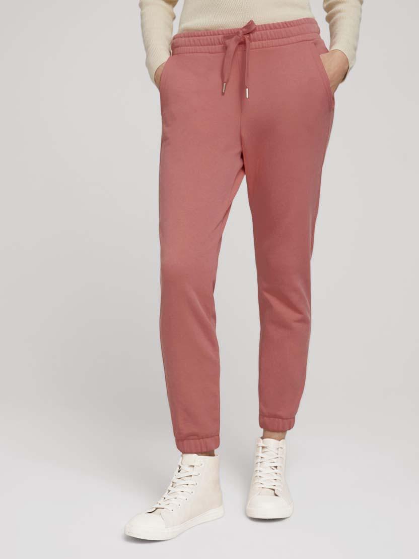 Ohlapne klasične hlače z elastičnim pasom - Roza