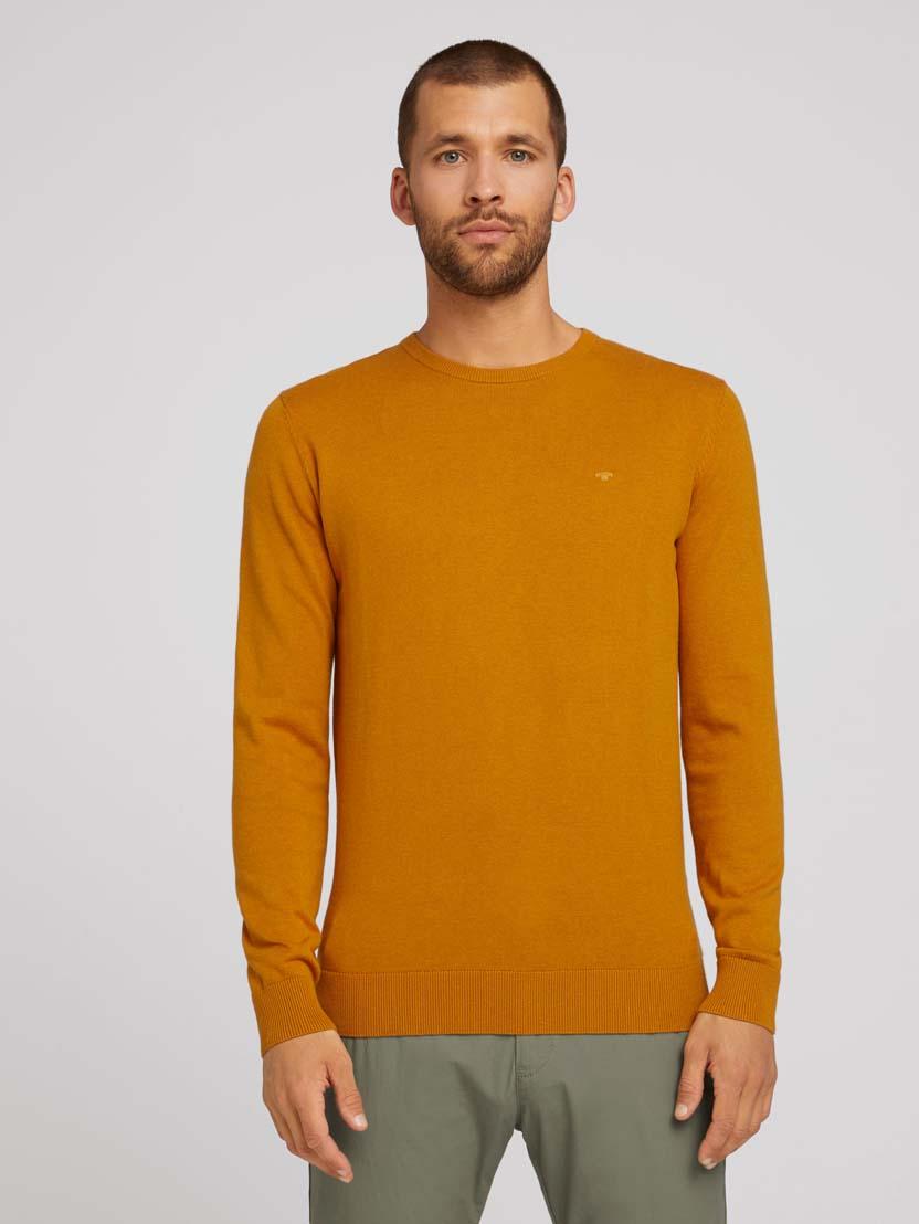 Pleteni pulover s okruglim izrezom - Narančasta