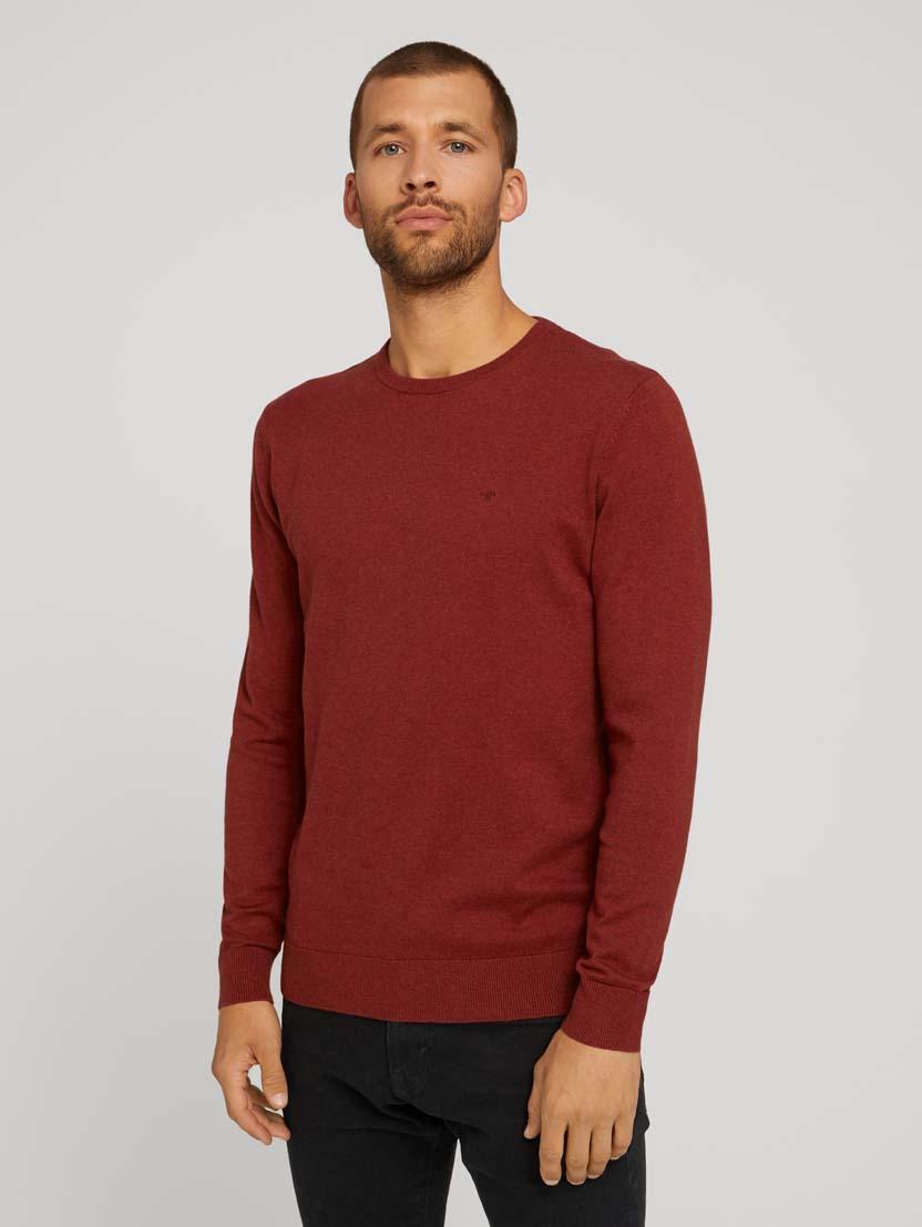 Pleteni pulover s okruglim izrezom - Smeđa