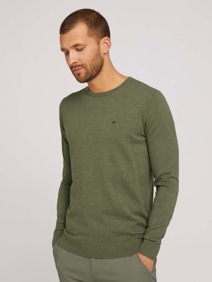 Pleteni pulover s okruglim izrezom - Zelena_1482807