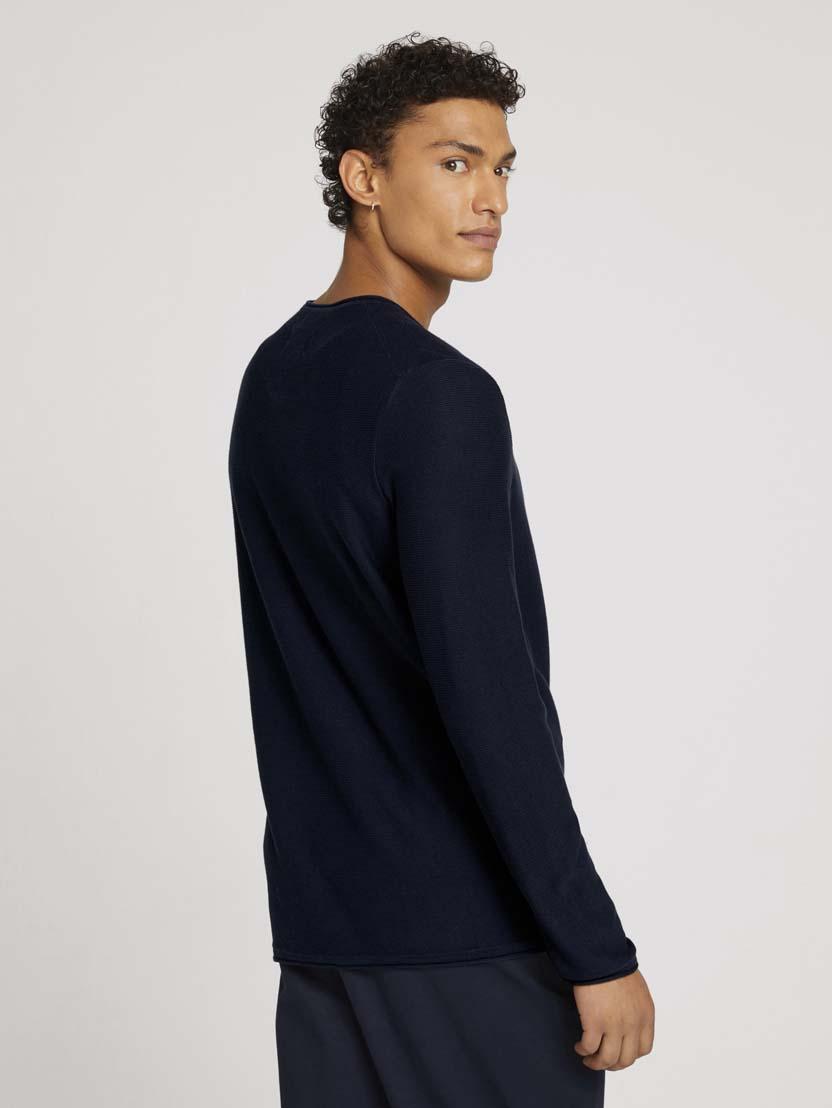 Pleteni pulover z dolgimi rokavi z okroglim izrezom - Modra_1636469