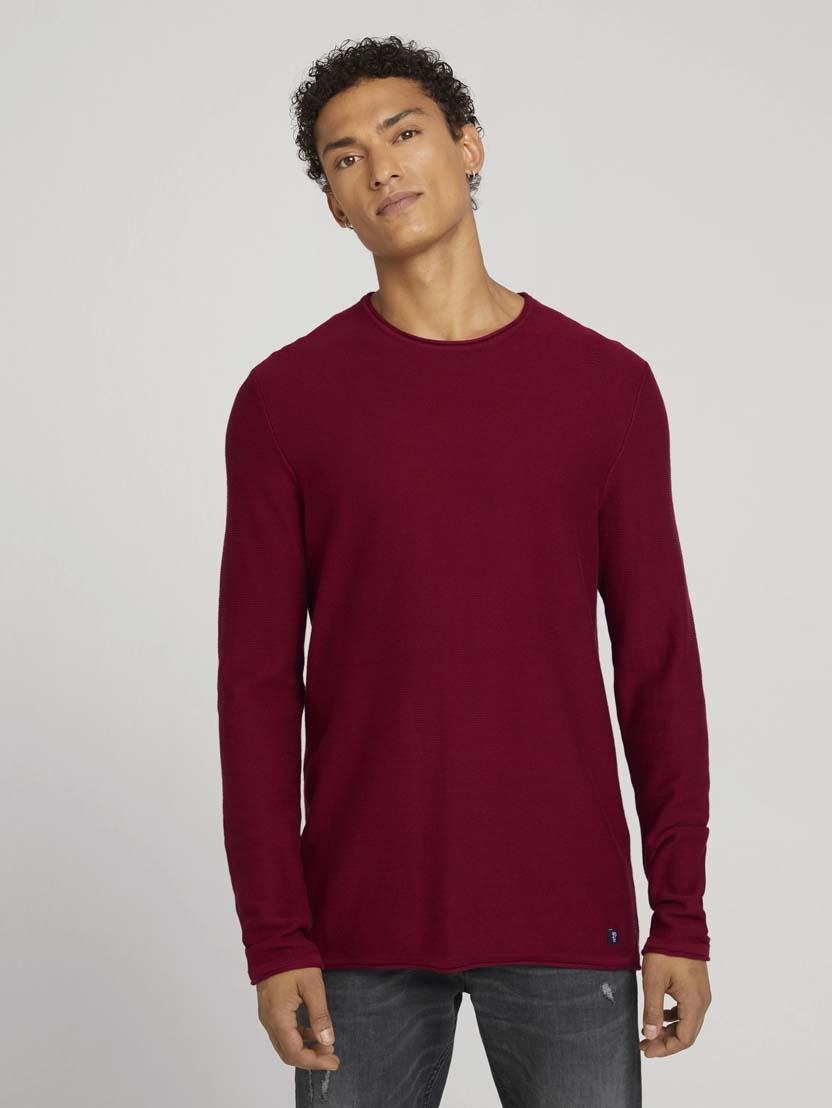 Pleteni pulover z dolgimi rokavi z okroglim izrezom - Rdeča