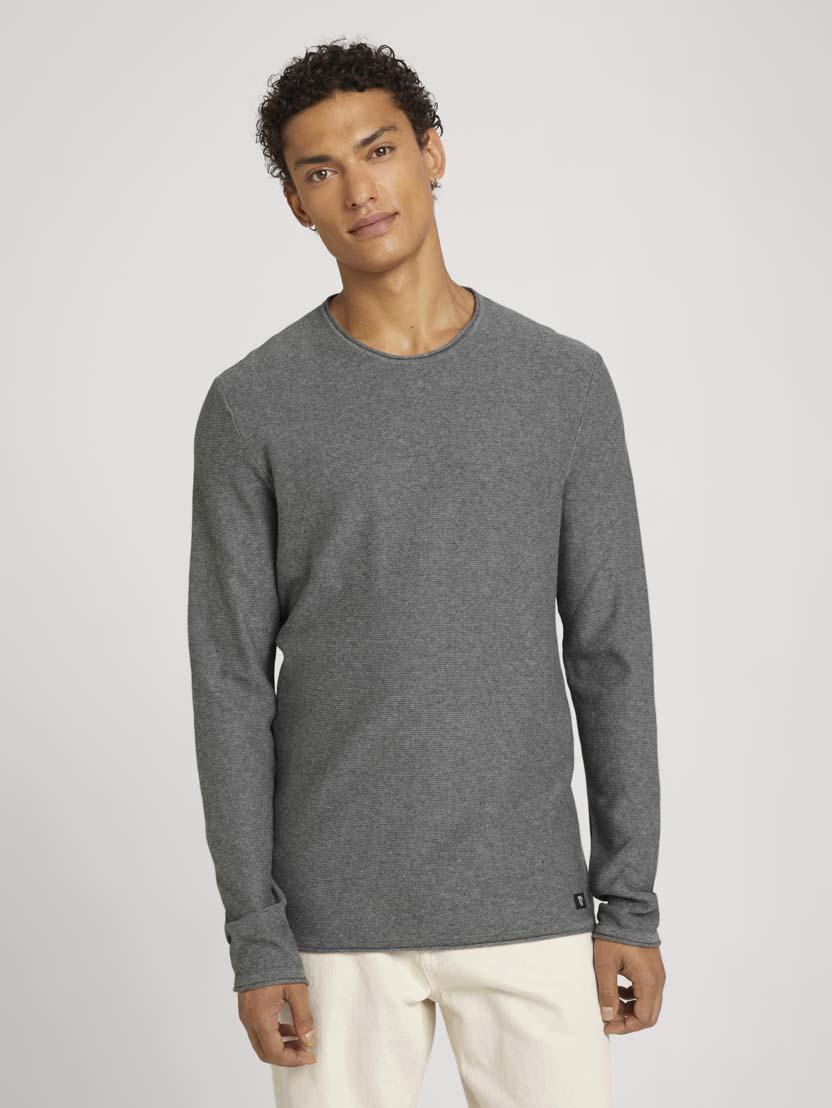 Pleteni pulover z dolgimi rokavi z okroglim izrezom - Siva