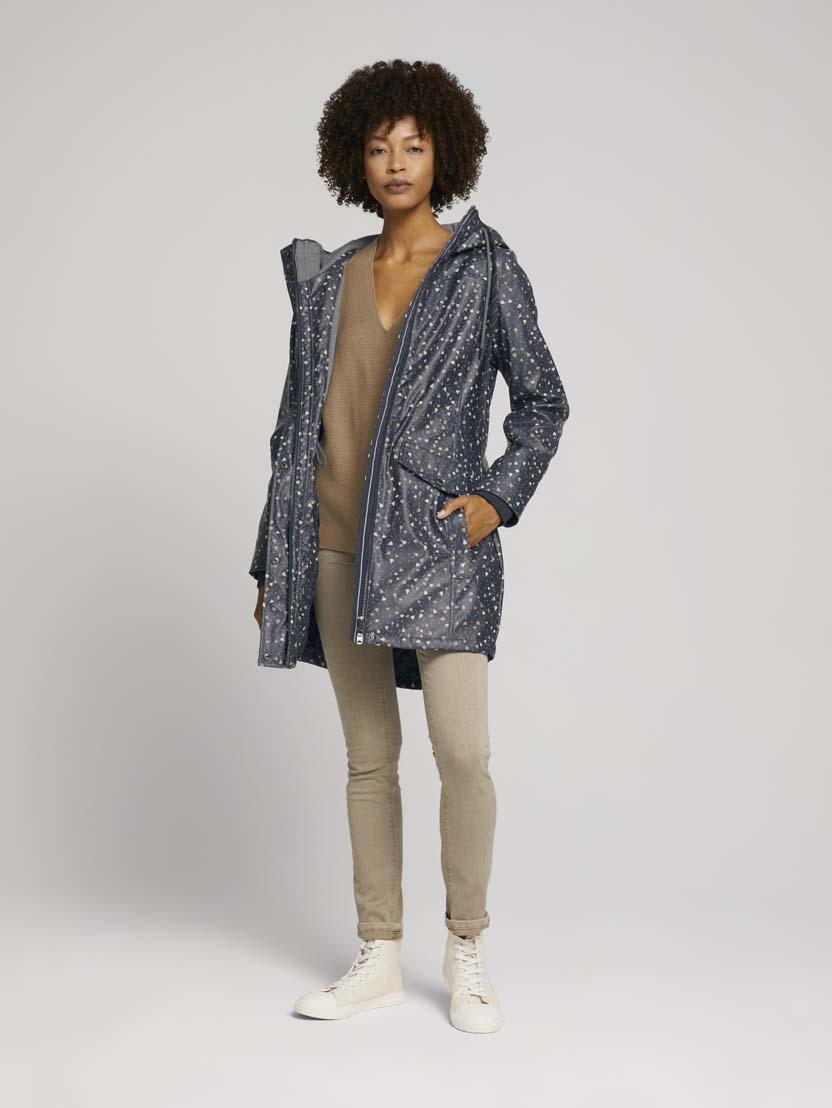Podložena dežna jakna s kapuco - Bež_9579619