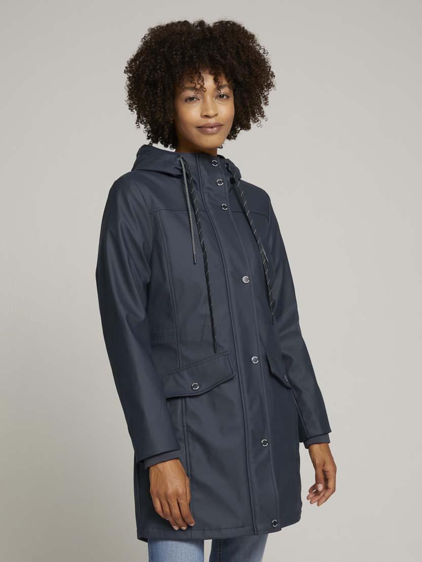 Podložena dežna jakna s kapuco - Modra
