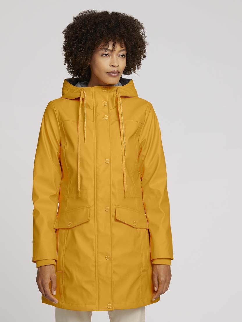 Podložena dežna jakna s kapuco - Rumena