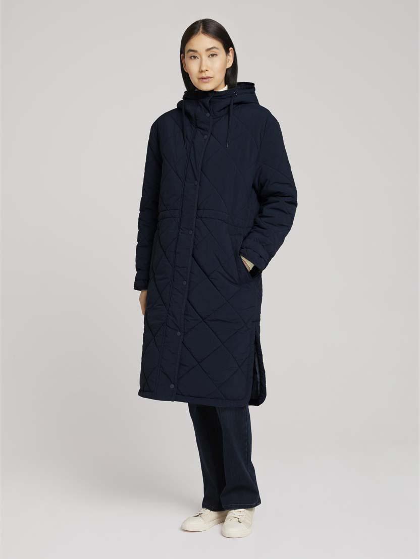 Prešit moderen plašč s kapuco - Modra