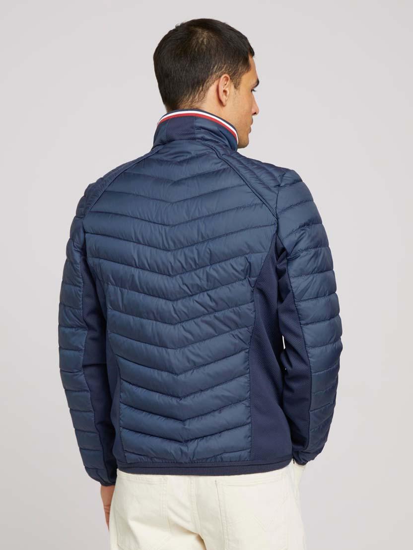 Prešita hibridna jakna s stoječim ovratnikom - Modra_2873873