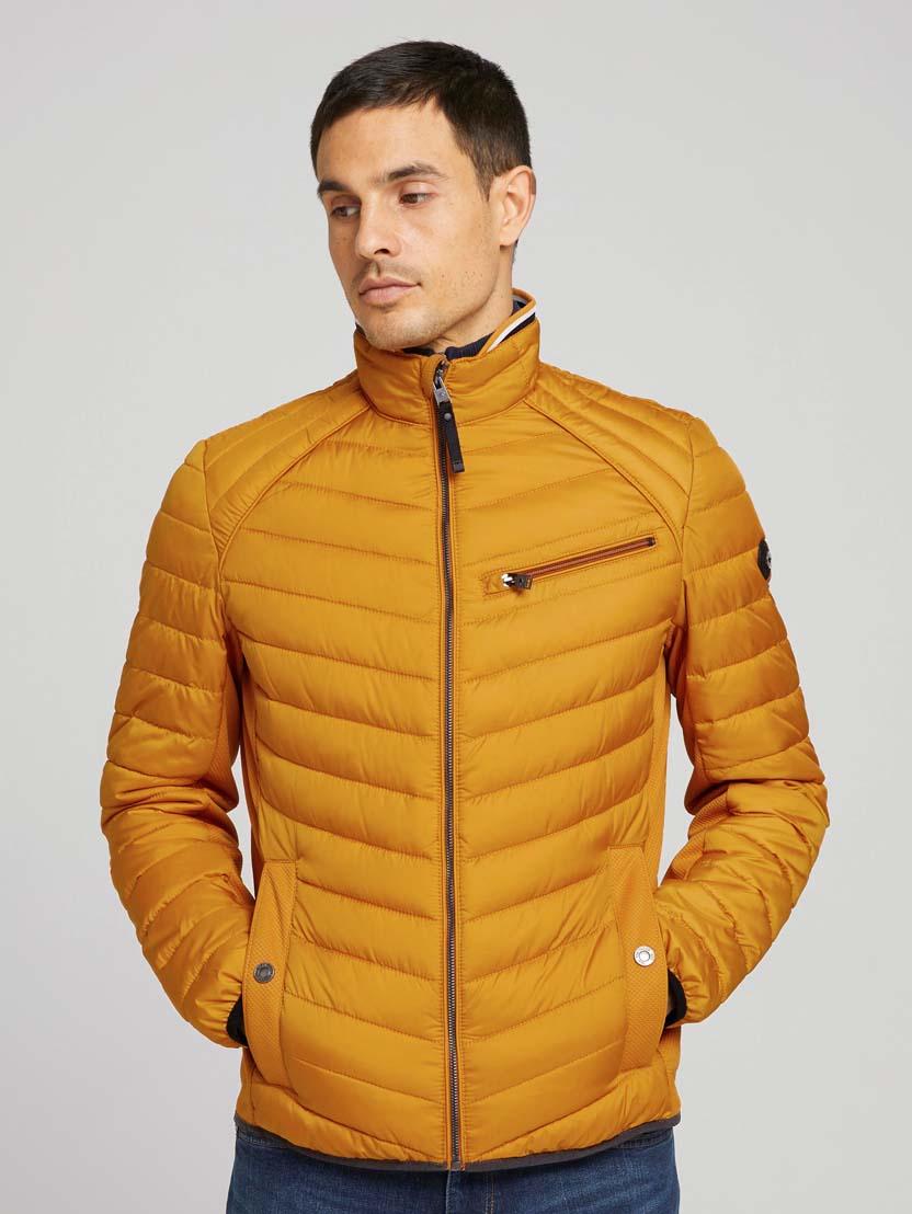 Prešita hibridna jakna s stoječim ovratnikom - Oranžna