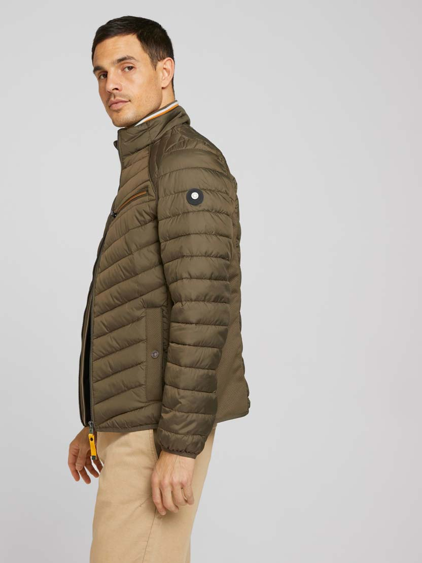 Prešita hibridna jakna s stoječim ovratnikom - Zelena_8543717