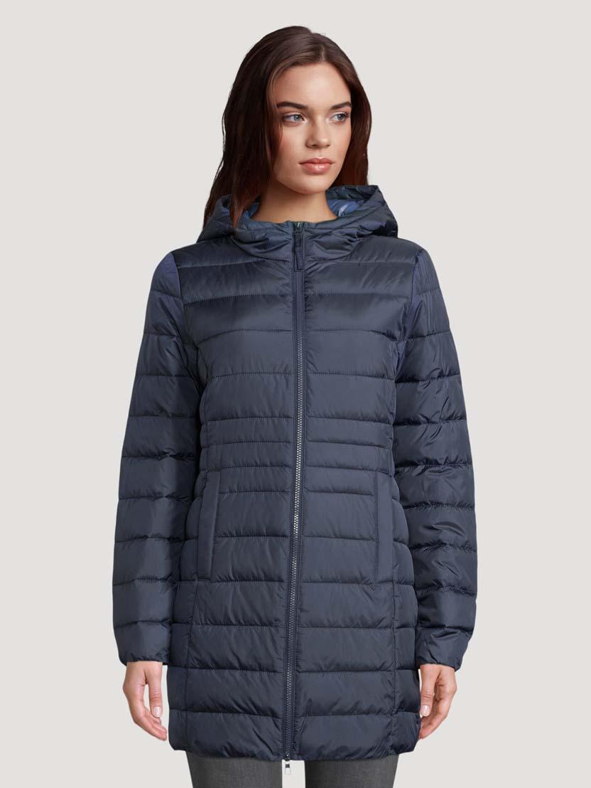 Prešita lahka dolga jakna s kapuco - Modra