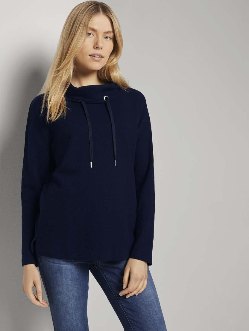 Teksturiran pulover s puli ovratnikom - Modra_189251
