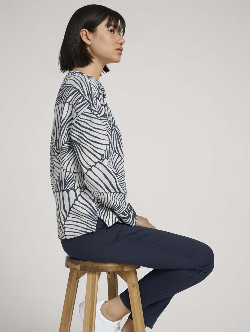 Pulover z dolgimi rokavi z vzorcem - Vzorec/večbarvna_7453441