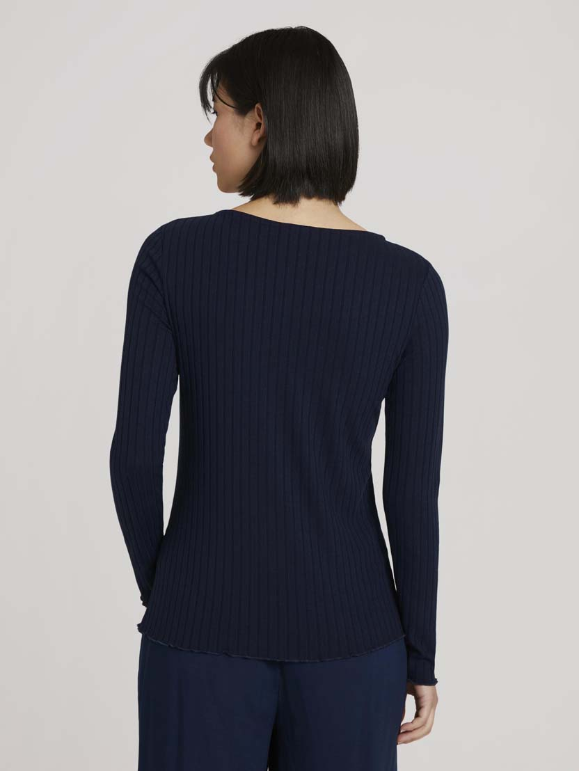 Rebrasta majica z dolgimi rokavi - Modra_1435148