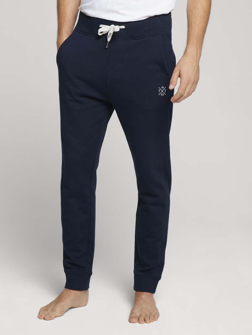 Športne hlače s potiskom znamke - Modra
