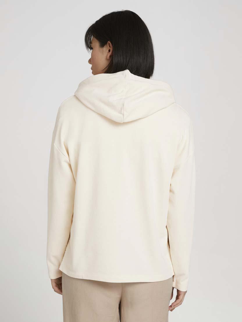 Športni pulover s kapuco z dolgimi rokavi iz organskega bombaža - Bež_7148235