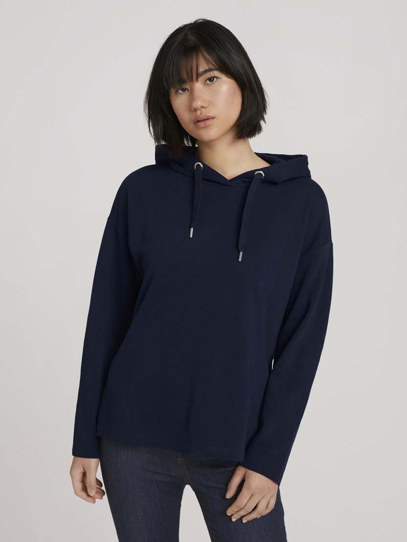 Športni pulover s kapuco z dolgimi rokavi iz organskega bombaža - Modra